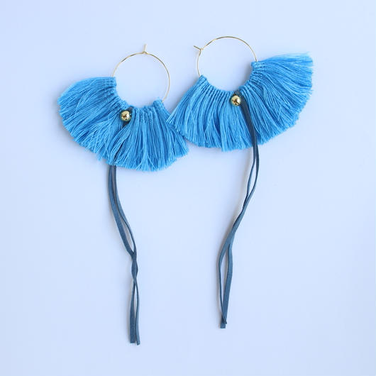 fringe hoop ear accessory #blue