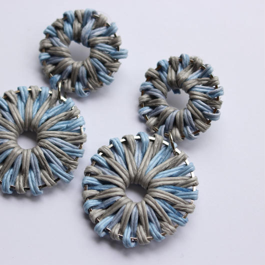 two color rattan pierce pastel blue