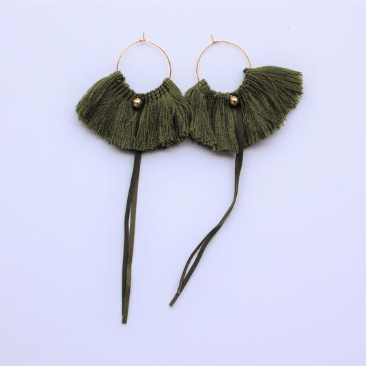 fringe hoop ear accessory #khaki