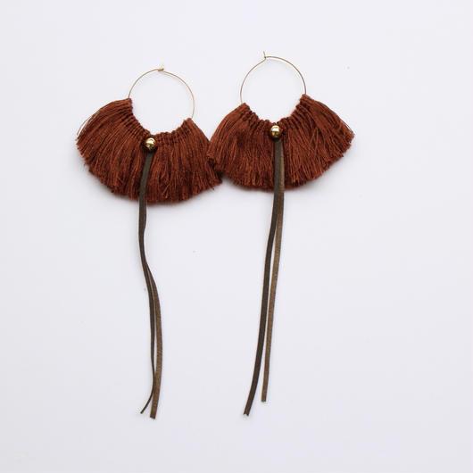 fringe hoop ear accessory #marron