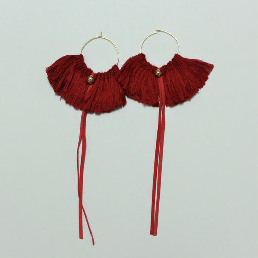 fringe hoop ear accessory #red