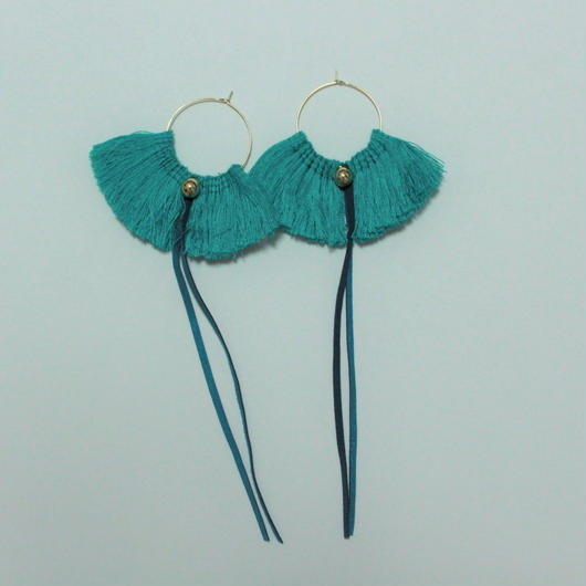 fringe hoop ear accessory #asagi green