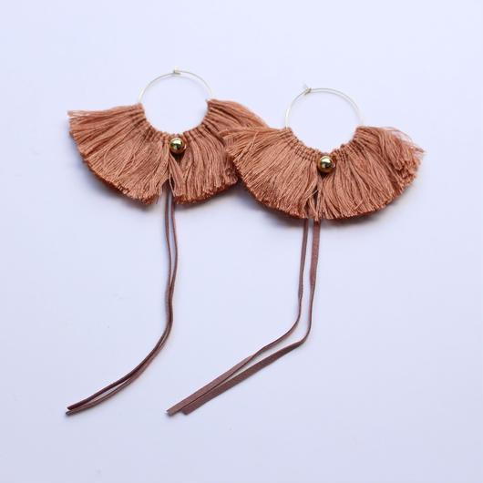 fringe hoop ear accessory #light brown