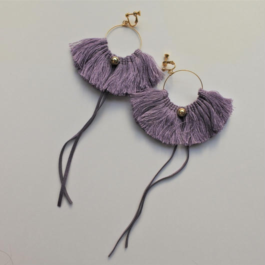 fringe hoop ear accessory #lavender