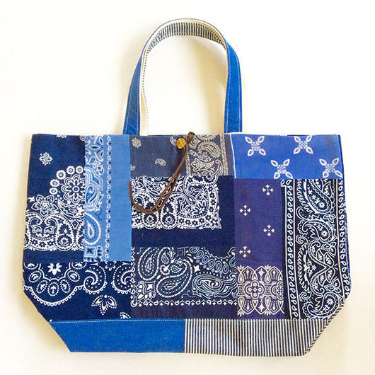 REMADE Patchwork TOTE BAG Large (L) Size.  バンダナBLUE