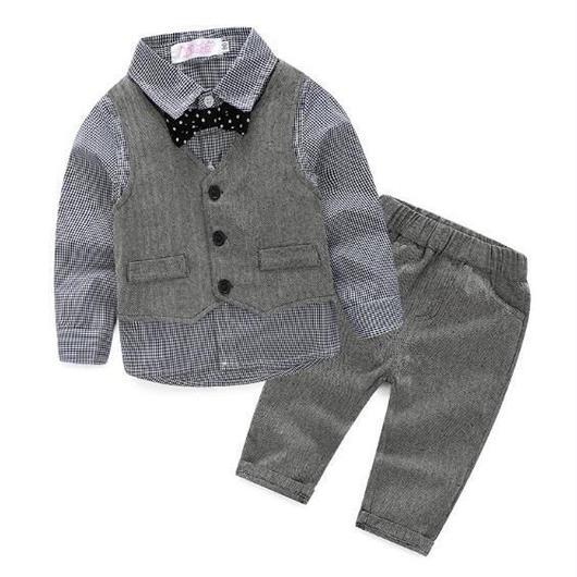 ヘリンボーンスーツ&シャツ3点セット