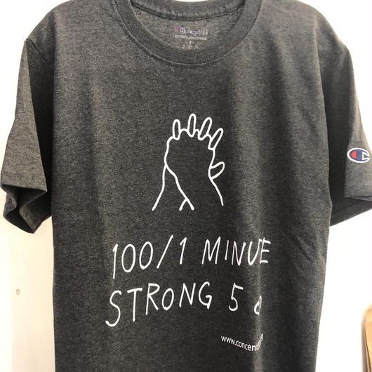 NEW!  100/1  ×  Champion  Tシャツ(ダークグレー)