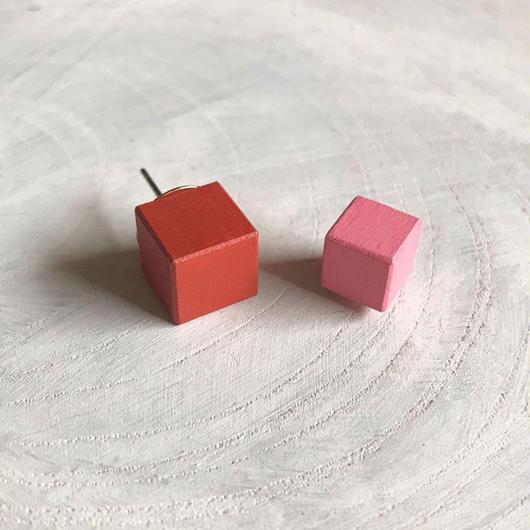 ダブルピアス オレンジ×ピンク