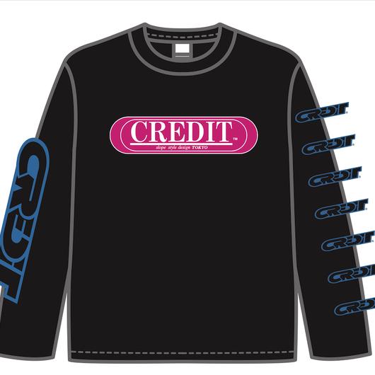 CREDIT MULTI PRINT  L/S TEE ・Black