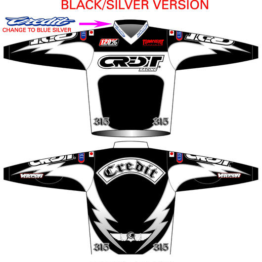 """CREDIT FACTORY"" MX  JERSEYS・Black × Silver"