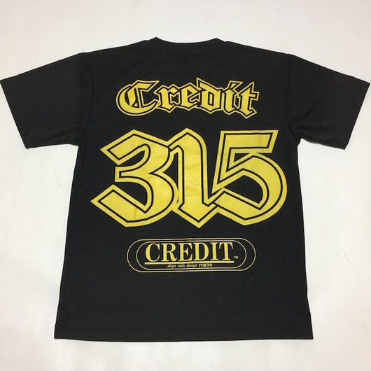CREDIT 315 Numbering T-SHIRTS ~ DRY Tee・Black × Yellow