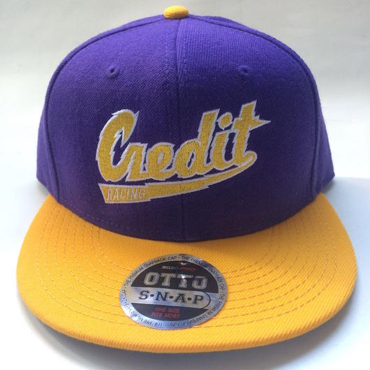 """CREDIT COLLEGED"" Snapback・Yellow × Purple"