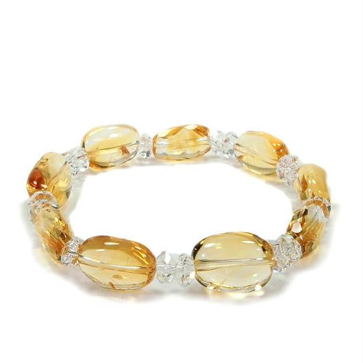 黄水晶、水晶ブレスレット