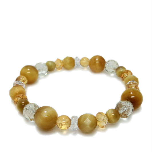 ゴールドトラメ石、黄水晶ブレスレット