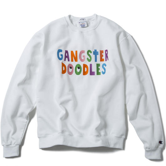 GANGSTER DOODLES CREWNECK (WHITE) :  ARTWORK by GANGSTER DOODLES【CC17SS-016】