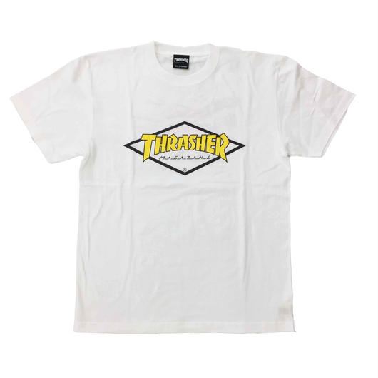 "Keith Haring × THRASHER Unisex T-Shirts ""Skater "" White × Yellow【KH-039】"