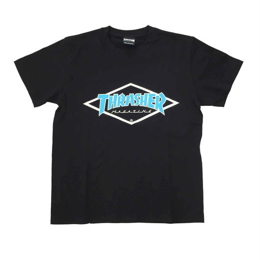 "Keith Haring × THRASHER Unisex T-Shirts ""Skater "" Black × Blue【KH-036】"