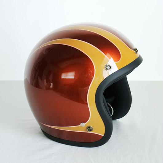 ジェットヘルメット スキャロップ「ブラウン×マスタードイエロー」