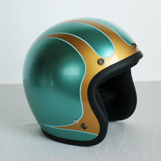 ジェットヘルメット スキャロップ「グリーン×ゴールド」