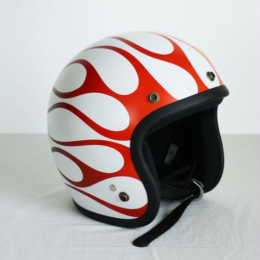ジェットヘルメット【マットホワイト×レッドフレアー】