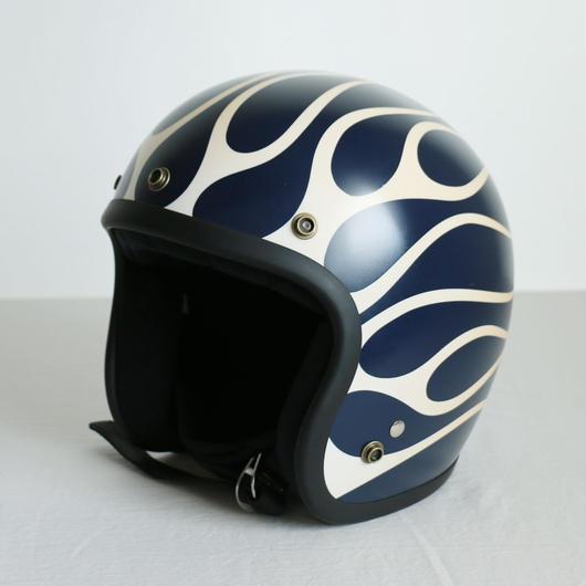 ジェットヘルメット【マットネイビー×ホワイトフレアー】