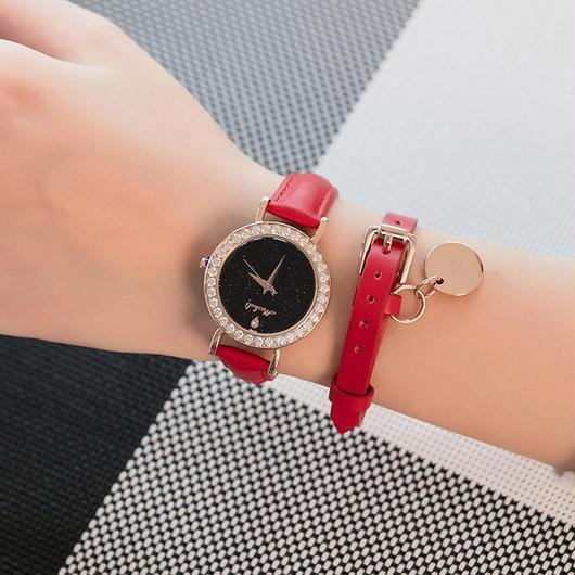 MASHALI ブラック文字盤腕時計 ラインストーンベゼル ブレスレットつき レディースウォッチ キラキラ腕時計 ジュエリーウォッチ