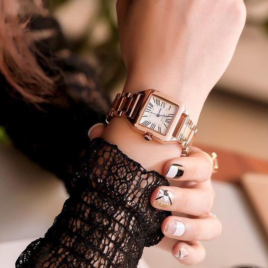 GUOU 上品スクエア文字盤 ステンレス腕時計 レディースウォッチ ジュエリーウォッチ / カルティエ エルメス お好きな方に