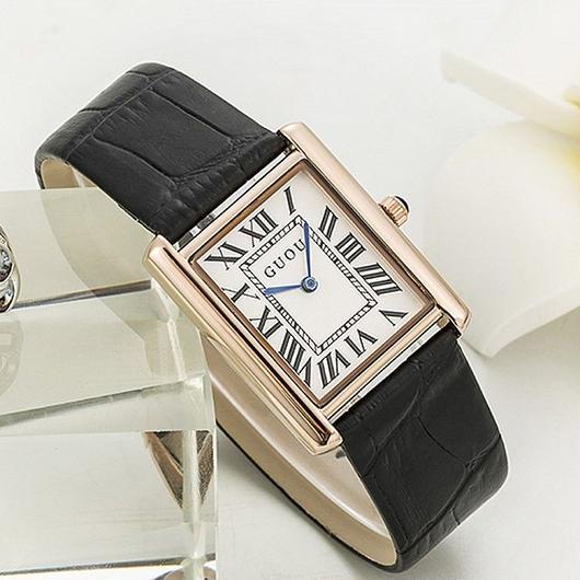 レディースウォッチ 海外人気ブランド GUOU スクエア型  レザーストラップ 上質腕時計 / カルティエ エルメスなどの腕時計がお好きな方にも