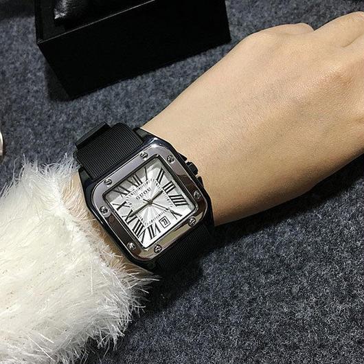 GUOU 高級カジュアルウォッチ スクエア文字盤 ラバーストラップ腕時計 レディースウォッチ ジュエリーウォッチ / カルティエ エルメス お好きな方に