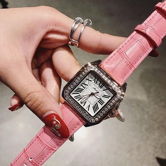 MASHALI キラキララインストーンベゼル スクエア文字盤 レザーストラップ腕時計 レディースウォッチ キラキラ腕時計 ジュエリーウォッチ / カルティエ エルメス スワロフスキー お好きな方に