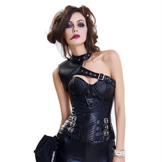 海外で大人気のコルセット ショルダーアーマーつき レザー調 ヴィンテージ ファンタジー中世 スチームパンク HR/HM 舞台衣装上品ボンテージ セクシー ゴシック 大きいサイズあり