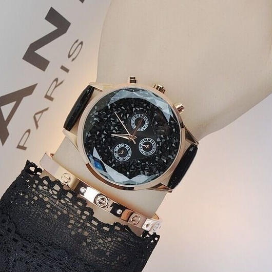 MASHALI キラキラクリスタル文字盤 カラフルレザーストラップ腕時計 レディースウォッチ キラキラ腕時計 ジュエリーウォッチ / スワロフスキー お好きな方に