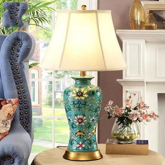 Famile rose 高級 ホテル用 ヨーロピアンスタイル テーブルランプ グリーンフラワー 陶器 セラミック リビング 客室 応接室 和室 サロンにも