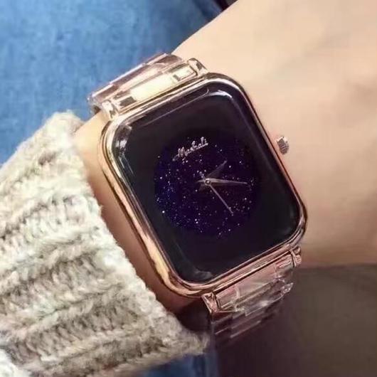MASHALI シンプル ノームコア ミニマリストタイプ スクエア文字盤腕時計 レディースウォッチ キラキラ腕時計 ジュエリーウォッチ
