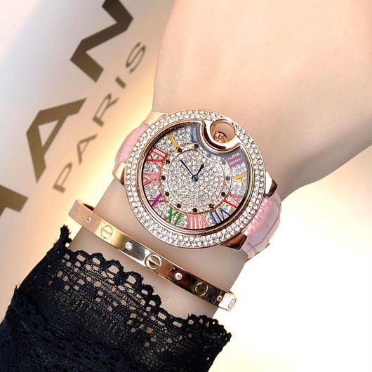 MASHALI カラフルレザーストラップ マルチカラー文字盤 腕時計 フルラインストーンベゼル レディースウォッチ キラキラ腕時計 ジュエリーウォッチ