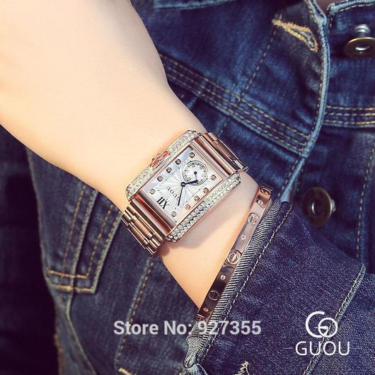 レディースウォッチ 海外人気ブランド GUOU スクエア型 ラインストーン キラキラ腕時計 選べるカラー / カルティエ タンクフランセーズ お好きな方にも