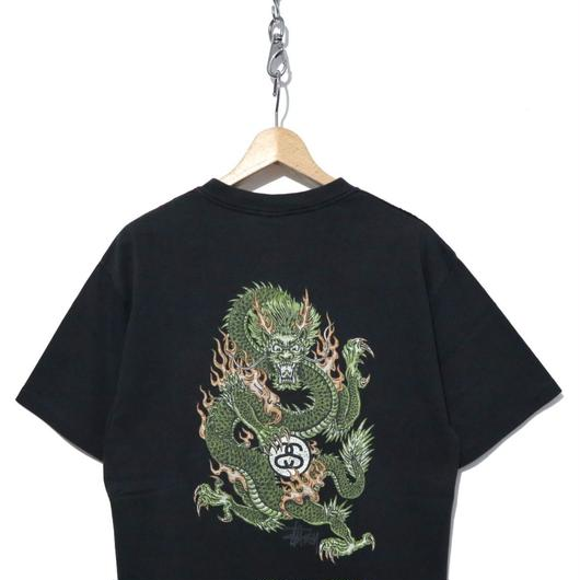 """90's OLD STUSSY バックプリントTシャツ """"Dragon"""" BLACK 紺タグ USA製"""