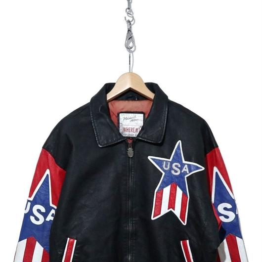 90's USA LOGO 星条旗 レザージャケット BLACK/RED Lサイズ