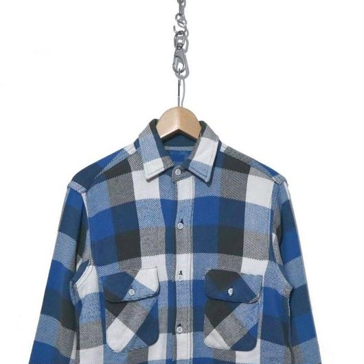 60's マチ付き チェックヘビーネルシャツ BLACK ×BLUE×WHITE