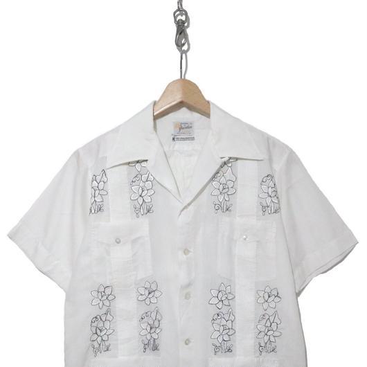 70~80's  刺繍入り 開襟キューバシャツ 半袖 White Mサイズ