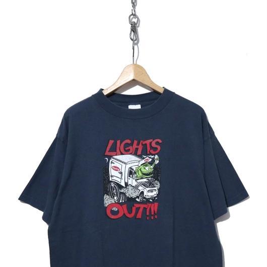 "90's PHISH モンスター ""LIGHTS OUT!!!"" 両面プリント Tシャツ NAVY"