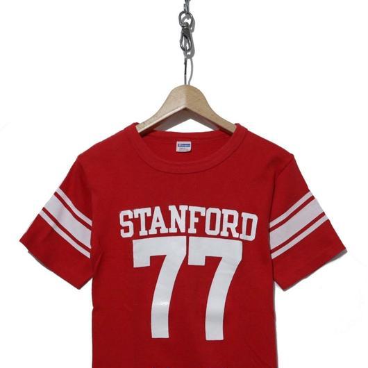 70's CHAMPION プリント フットボール Tシャツ バータグ ゾロ目 77
