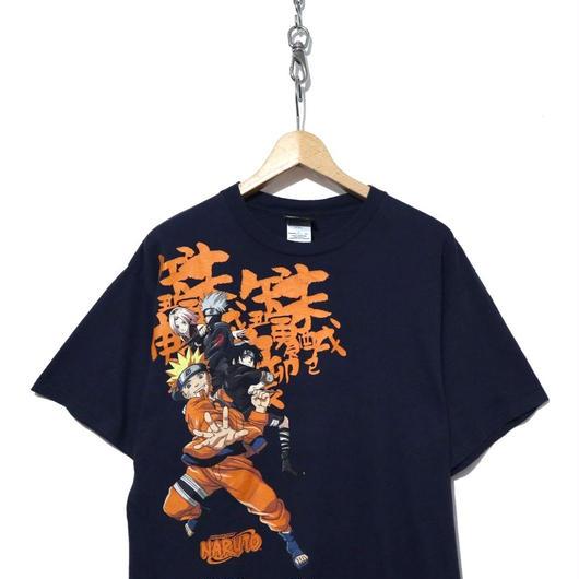 """00's """"NARUTO"""" キャラクター プリント Tシャツ Lサイズ NAVY"""