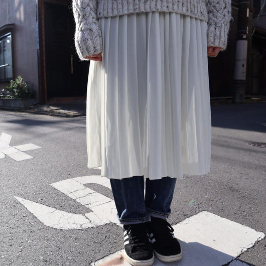 90's 膝下丈シフォンプリーツスカート