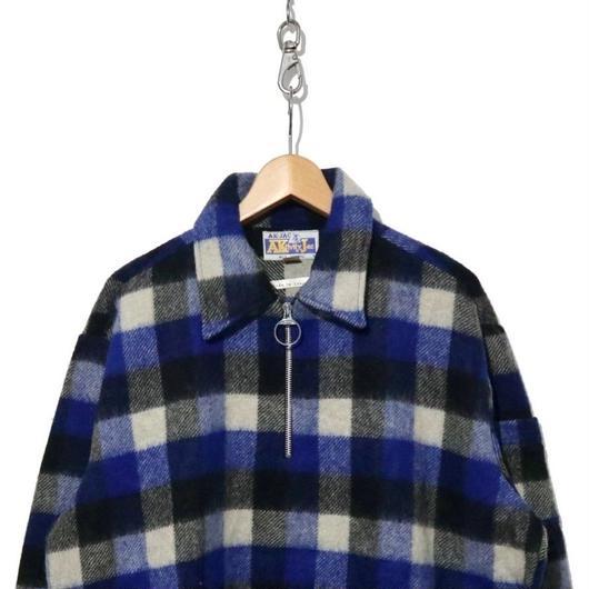 70's Deadstock ハーフZIP ウール100% チェックシャツジャケット