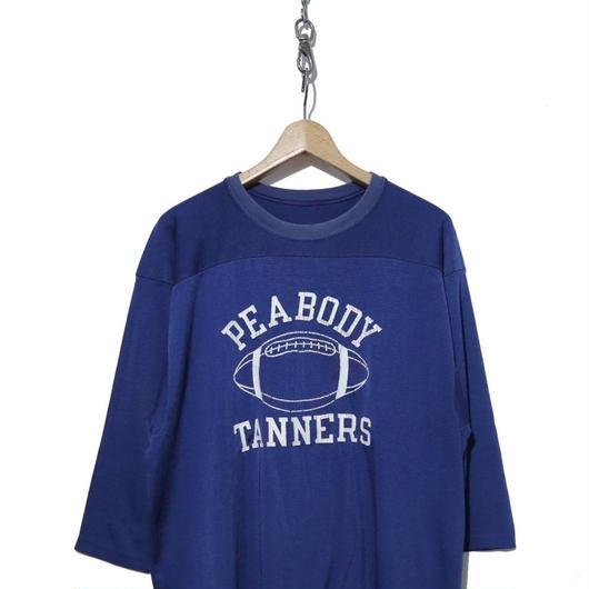 70's CHAMPION 七分袖 ポリフットボール Tシャツ BLUE XL