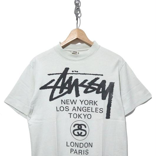 "90's OLD STUSSY 両面プリント Tシャツ ""WORLD TOUR"" 白タグ USA製"