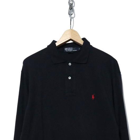 90's  Polo by Ralph Lauren 鹿の子 長袖ポロシャツ BLACK