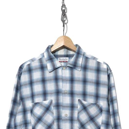 60's Brittani オンブレ チェックシャツ コットン WHITE×SAX
