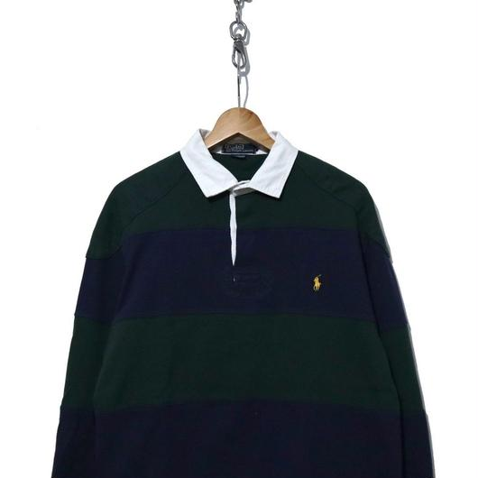 90~00's POLO by Ralph Lauren 太ボーダー ラガーシャツ NAVY/GREEN